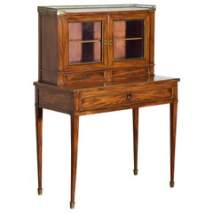 Continental Walnut, Marble Top, & Brass Mounted Neoclassical Low Cabinet