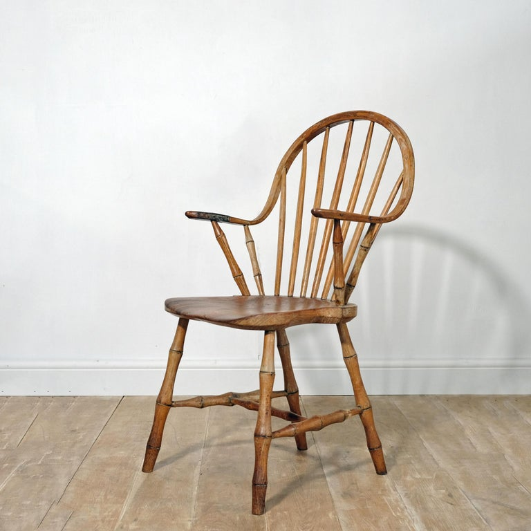 Known as 'continuous arm' Windsor chairs, chairs such as this one originate in the small Devon village of Yealmpton (only a few miles from our base). The unusual design then found its way to America in the early 19th century - inhabitants from