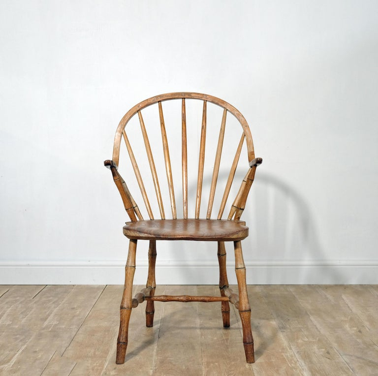 Country Continuous Arm Yealmpton Chair, English Windsor Armchair, Faux Bamboo, 1820s For Sale
