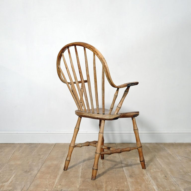 British Continuous Arm Yealmpton Chair, English Windsor Armchair, Faux Bamboo, 1820s For Sale