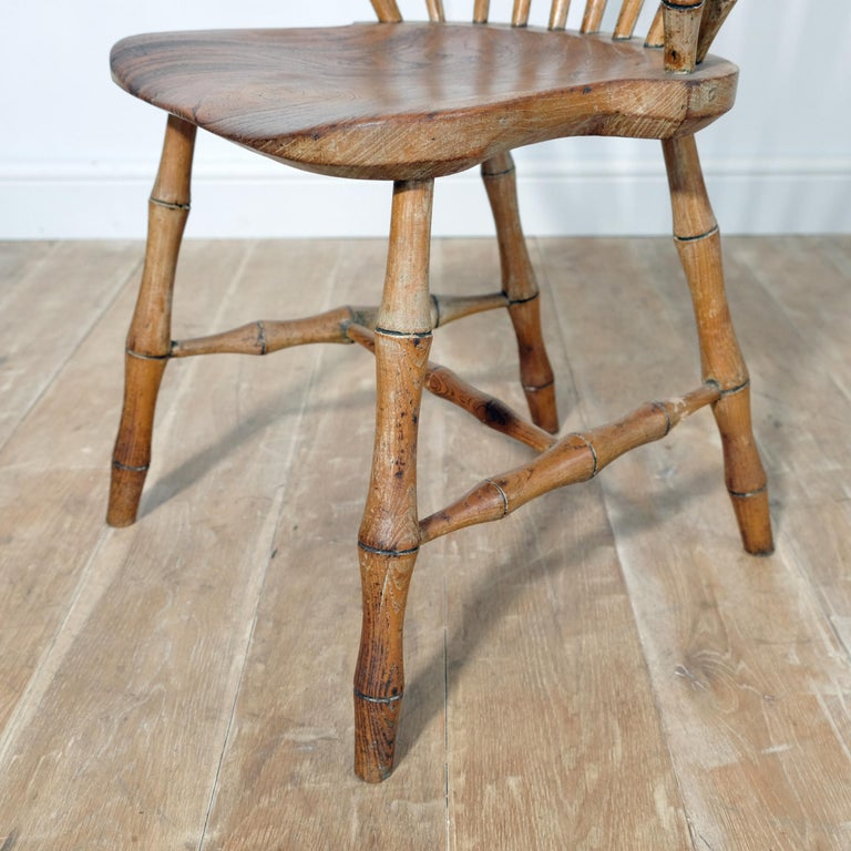 19th Century Continuous Arm Yealmpton Chair, English Windsor Armchair, Faux Bamboo, 1820s For Sale