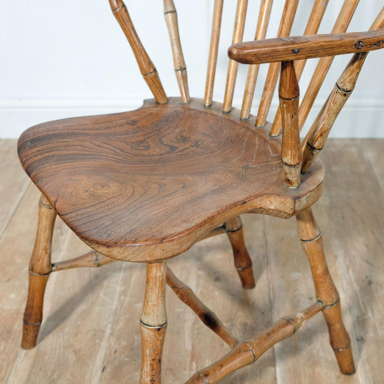 Ash Continuous Arm Yealmpton Chair, English Windsor Armchair, Faux Bamboo, 1820s For Sale