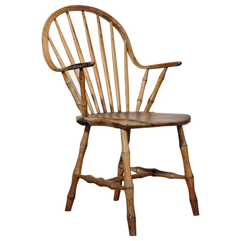 Continuous Arm Yealmpton Chair, English Windsor Armchair, Faux Bamboo, 1820s For Sale