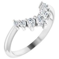 Contour Curved Style Diamond Wedding Ring Band 18 Karat White Gold 0.35 Carat