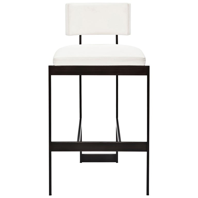 Contralto Counter Stool In White Leather Satin Black Frame By