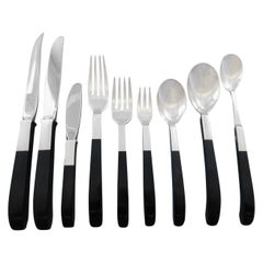 Contrast by Lunt Sterling Silver Flatware Set Service Mid-Century Modern 218 Pcs