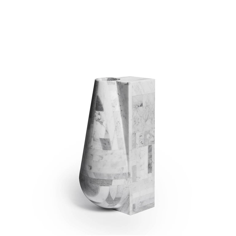 The idea comes up from the will to emphasise the contradictions of natural resource waste. Here the marble is recovered and assembled to make a 3D module. This module has been finished to highlight the contrast of the linear and geometric side with