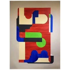 Conundrum, Large Geometric Abstract Mixed-Media Painting, 2014, Red, Blue, Green