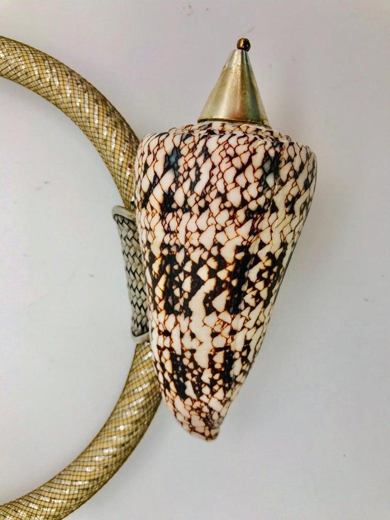 Contemporary SYLVIA GOTTWALD,  Conus Shell in Silver frame,Eco -Luxe ,Pendant Necklace  For Sale