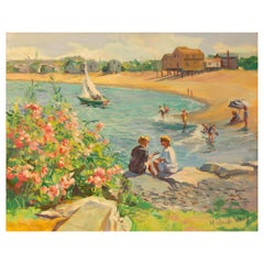 """Conversation at Peggoty Beach"" Painting by Marjorie Osborne Whorf"