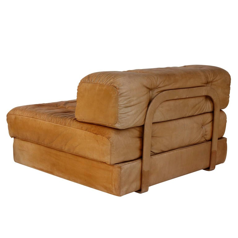 Convertable Sofa Daybed Couch Bed 'Atrium', Wittmann, Cognac Leather, 1970 For Sale 9