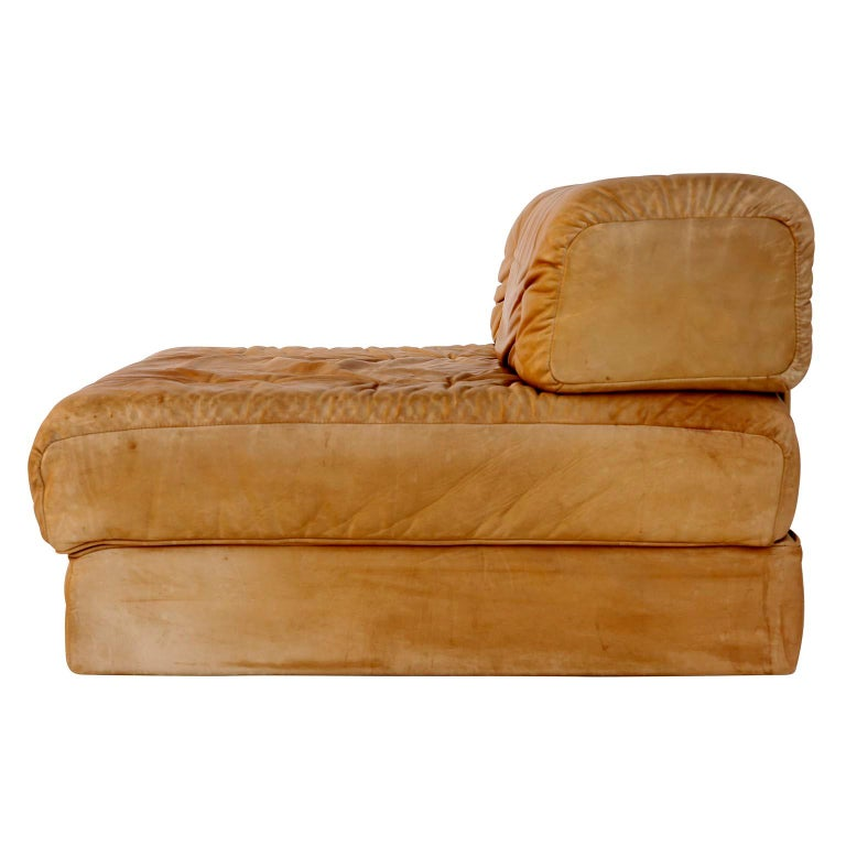 Convertable Sofa Daybed Couch Bed 'Atrium', Wittmann, Cognac Leather, 1970 For Sale 10