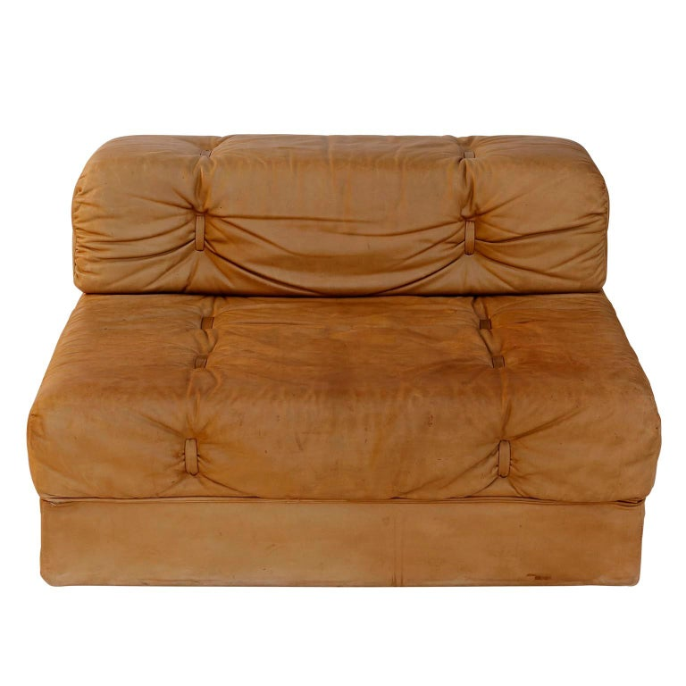 Convertable Sofa Daybed Couch Bed 'Atrium', Wittmann, Cognac Leather, 1970 For Sale 11