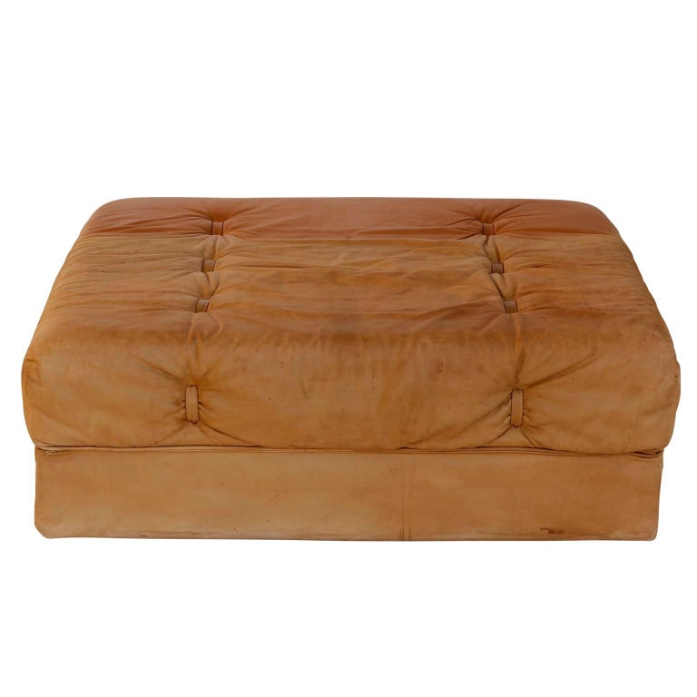 Convertable Sofa Daybed Couch Bed 'Atrium', Wittmann, Cognac Leather, 1970 For Sale 13