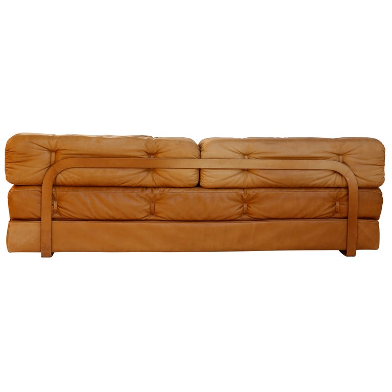 Mid-Century Modern Convertable Sofa Daybed Couch Bed 'Atrium', Wittmann, Cognac Leather, 1970 For Sale