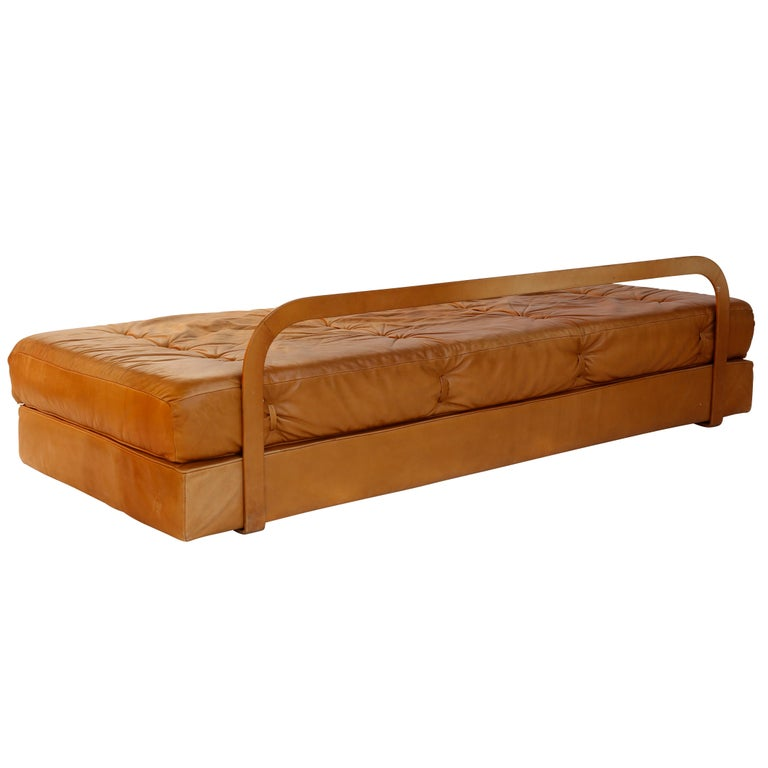 Late 20th Century Convertable Sofa Daybed Couch Bed 'Atrium', Wittmann, Cognac Leather, 1970 For Sale