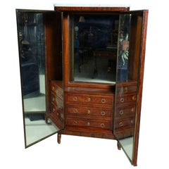 Converted Dresser Cabinet 3-Way Mirror Inside Louis XVI Secretary —Reduced