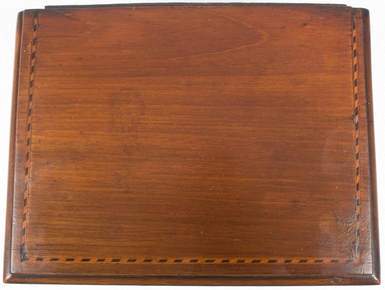 Converted Edwardian Inlaid Mahogany Jewelry Trinket Box For Sale 5
