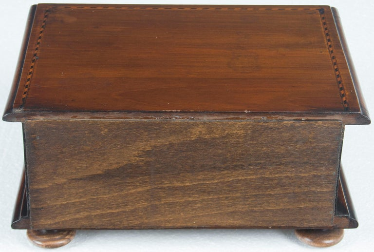 Converted Edwardian Inlaid Mahogany Jewelry Trinket Box In Good Condition For Sale In Atlanta, GA