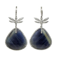Convertible Blue Sapphire, Diamond and 18 Karat Gold Dragonfly Earrings