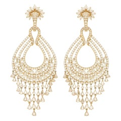 Convertible Diamond Chandelier Tassel Earrings in 18 Karat Yellow Gold