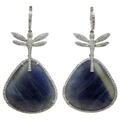 Convertible Dragonfly Earrings in Blue Sapphire, Diamond and 18 Karat Gold