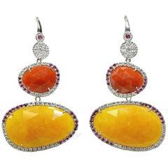 Convertible Drop Earrings in 18 Karat White Gold with Rubies, Diamonds, Jade