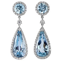 Convertible Drop Earrings with Diamonds and Aquamarines in Platinum