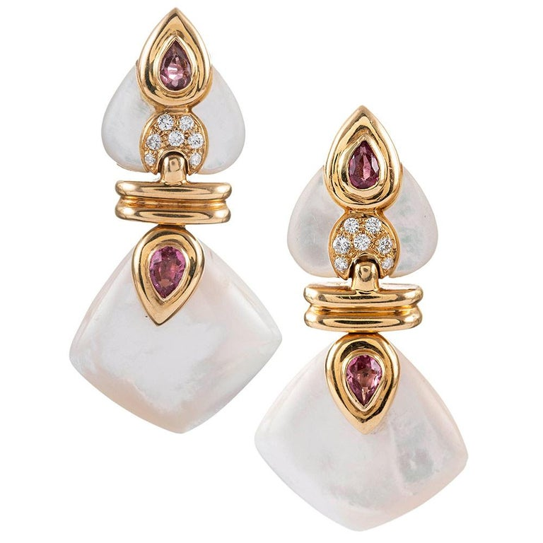 Convertible Drop Earrings with Mother of Pearl, Diamond, Rubellite and Red Glass In Excellent Condition In Carmel-by-the-Sea, CA