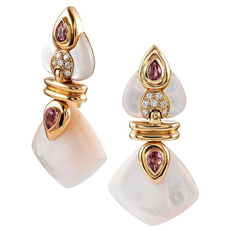 Women's Convertible Drop Earrings with Mother of Pearl, Diamond, Rubellite and Red Glass