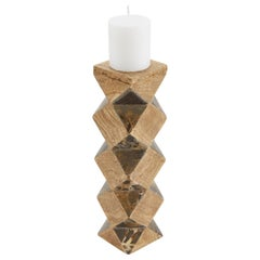 Convertible Faceted Postmodern Tessellated Stone Candlestick or Vase, 1990s