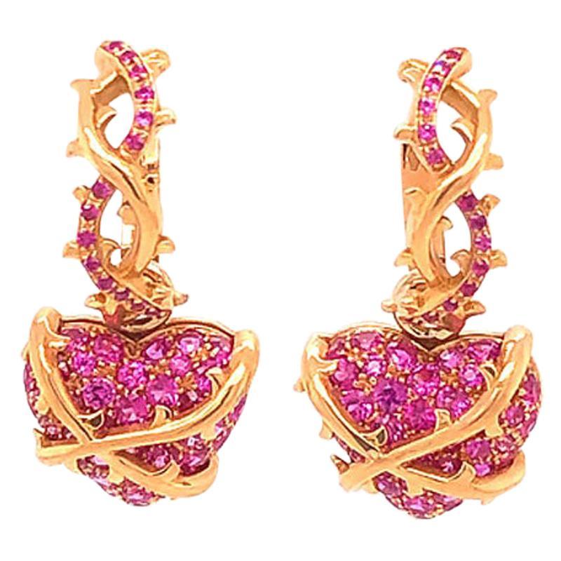 Convertible Hoop Dangle Heart Drop Pink Sapphire Earrings in 18 Karat Rose Gold