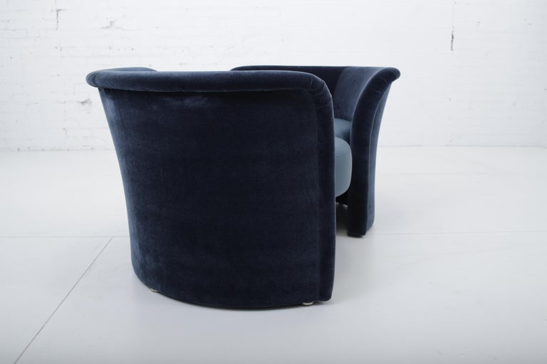 Leather Convertible Tete-a-Tete Settee Sofa, Thayer-Coggin For Sale