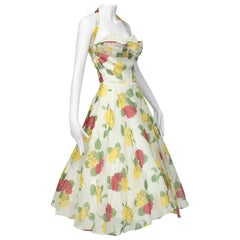 Convertible Yellow Floral Circle Dress w Rhinestone-Studded Shelf Bust-S, 1950s