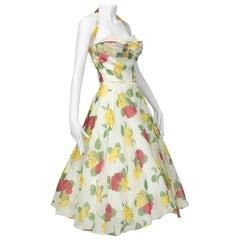Convertible Yellow Floral Circle Dress w Rhinestone-Studded Shelf Bust-S, 1950s