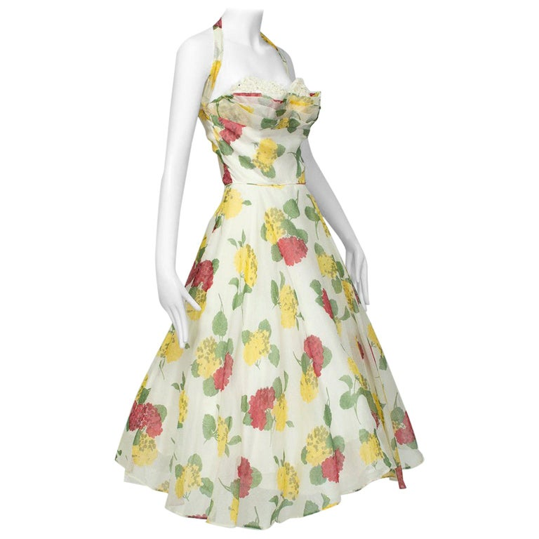 Convertible Yellow Floral Circle Dress w Rhinestone-Studded Shelf Bust-S, 1950s For Sale