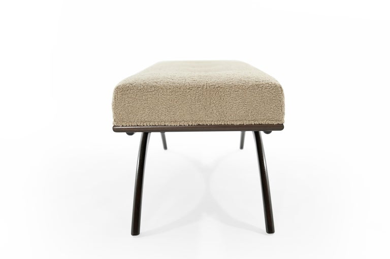 American Convex Bench in Natural Bouclé by Stamford Modern For Sale