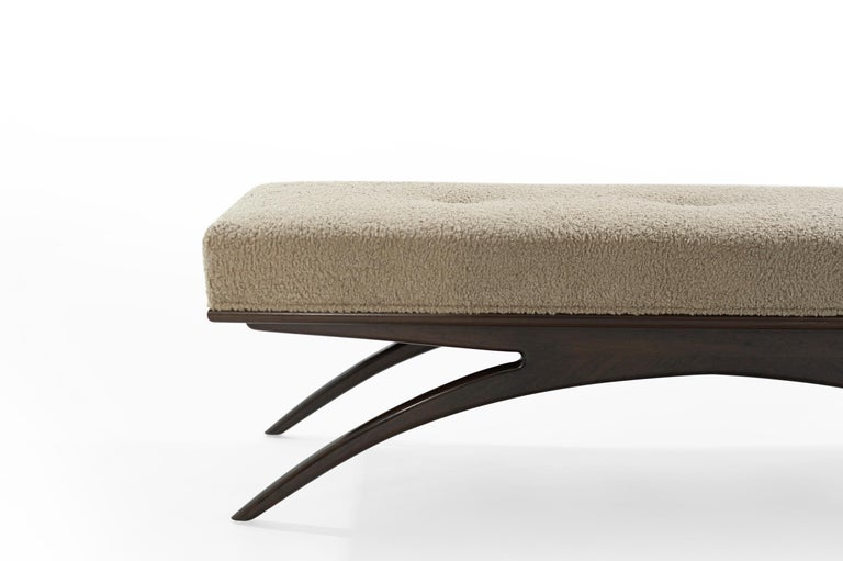 Contemporary Convex Bench in Natural Bouclé by Stamford Modern For Sale