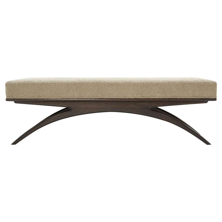 Convex Bench in Natural Bouclé by Stamford Modern For Sale