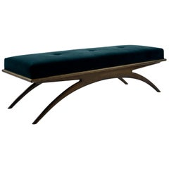 Convex Bench in Teal Mohair by Stamford Modern