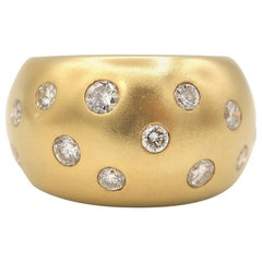 Chunky Convex Diamond Matte Finish 18 Karat Yellow Gold Ring
