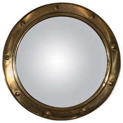 Convex Glass Brass Frame Rounded Mirror, France 1940s