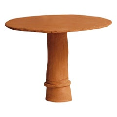 """Convivio"" Side Table Handmade in Red Lombard Clay Contemporary Art by Nino"
