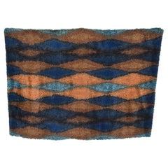 Cool Azure Blue Geometric Pattern Ornamental Rug Tapestry Ege Rya, Denmark 1960s