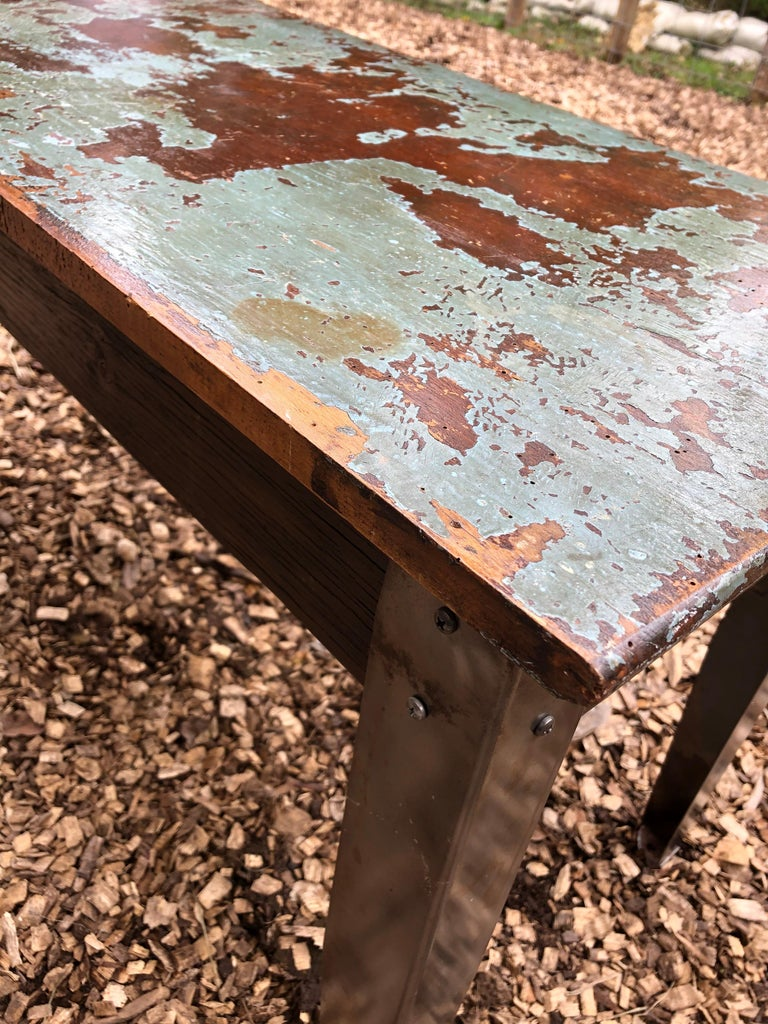 Cool Industrial Distressed Wood Table with Metal Legs For Sale 5