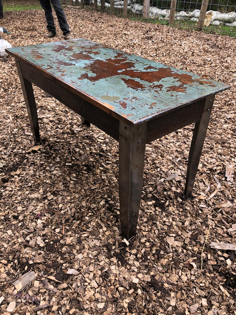 Cool Industrial Distressed Wood Table with Metal Legs For Sale 6