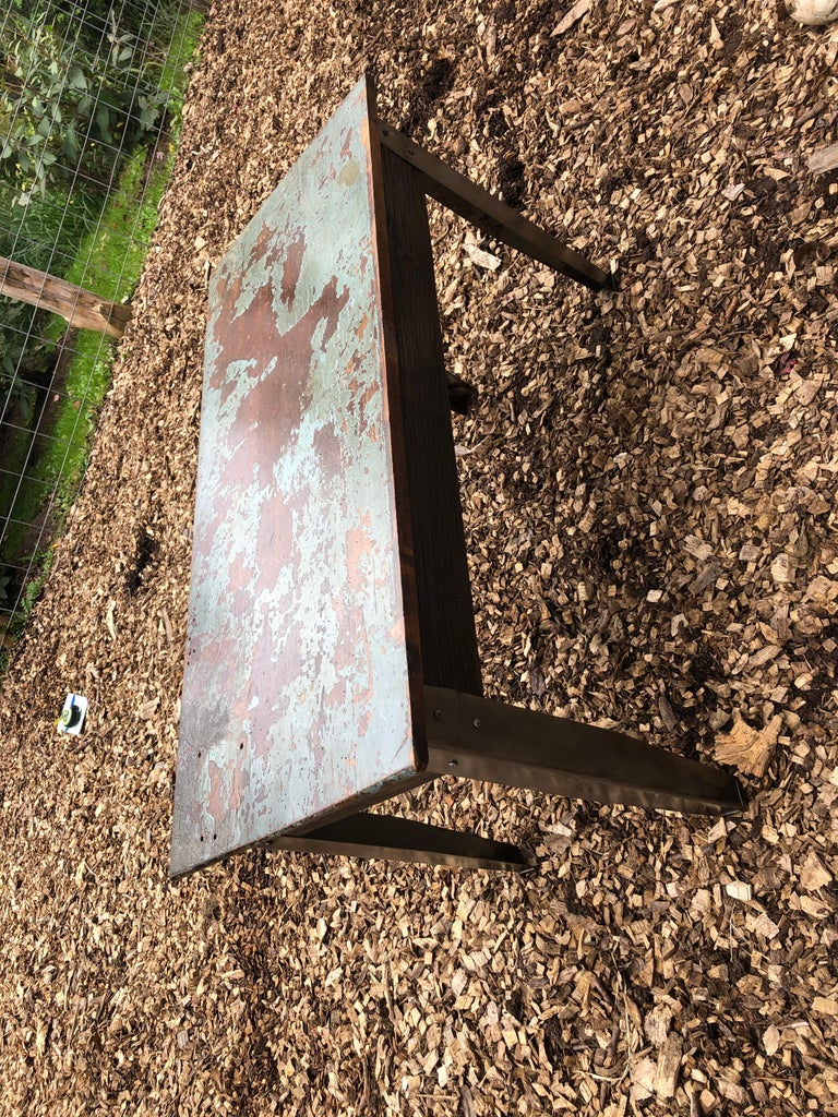 American Cool Industrial Distressed Wood Table with Metal Legs For Sale