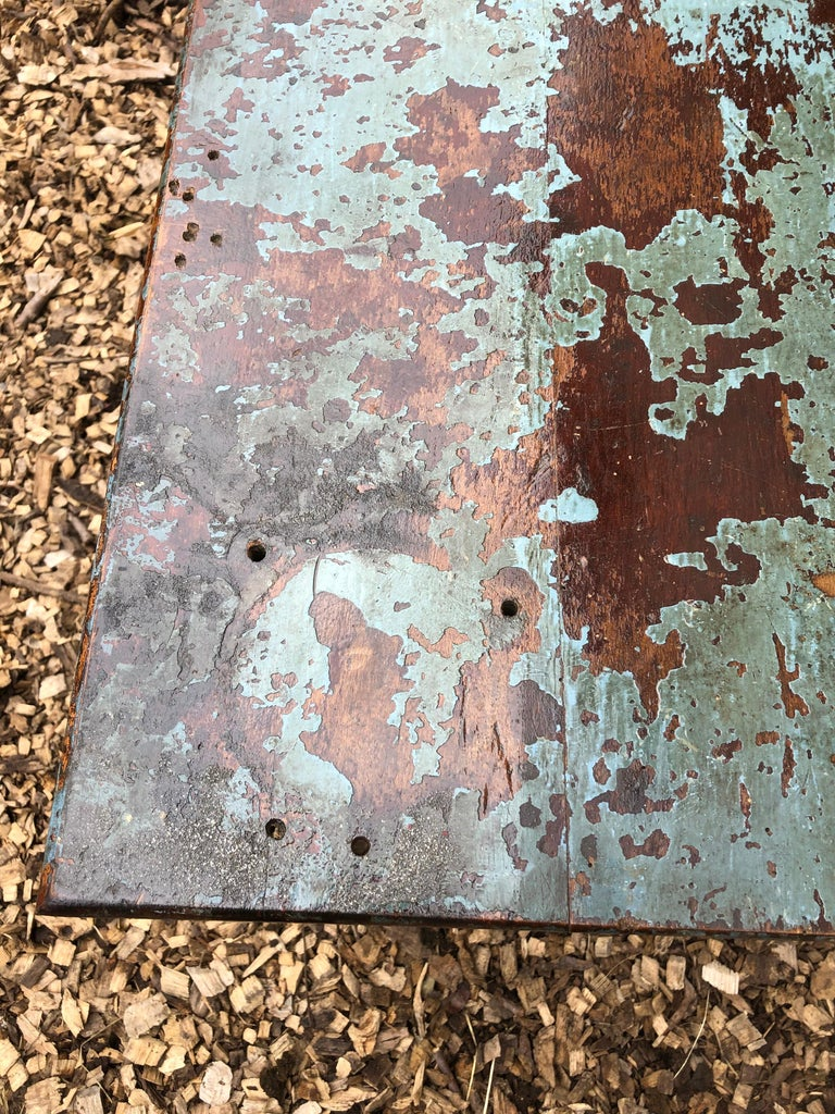 Cool Industrial Distressed Wood Table with Metal Legs In Distressed Condition For Sale In Hopewell, NJ