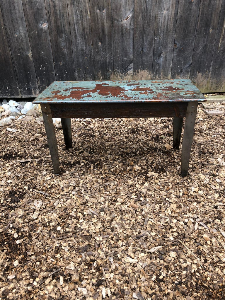 Late 20th Century Cool Industrial Distressed Wood Table with Metal Legs For Sale