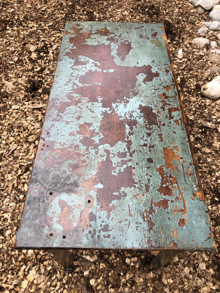 Aluminum Cool Industrial Distressed Wood Table with Metal Legs For Sale
